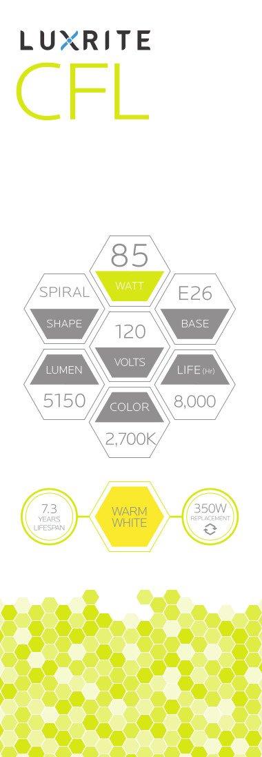Luxrite LR20220 (12-Pack) 85-Watt High Wattage CFL Spiral Light Bulb, Equivalent To 350W Incandescent, Warm White 2700K, 5150 Lumens, E26 Standard Base by LUXRITE (Image #5)