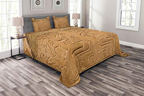 Lunarable Egyptian Bedspread Set King Size, Egyptian Hieroglyphs on The Wall Stone Surface Scripts Ancient Arts Theme Image, Decorative Quilted 3 Piece Coverlet Set with 2 Pillow Shams, Pale Brown