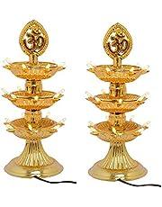 3 Layer New Electric Gold LED Bulb Lights Diya| Deep | Deepak for Pooja | Puja|Mandir | Diwali Festival Decoration | Pack Of 2 | Free Plug