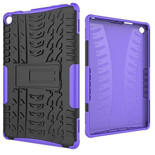 Protective Kindle Case, Egmy Popular Rubber Shockproof Hybrid Hard Case Cover Stand Holder For Amazon Kindle Fire HD 8 8inch (6th Gen,2016) (Purple) Purples Shape Tpu Rubber