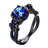 Bamos Jewelry Womens Lab Blue Bright Stone Ring Promise Wedding Engagement Gift Black Gold Plated Womens Rings Size 7