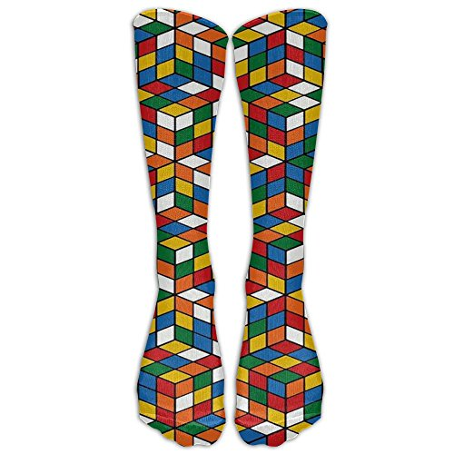 Rubik's Cube World Knee Long Sport Socks Design Sport Athletic Crew Warm Socks For Boy