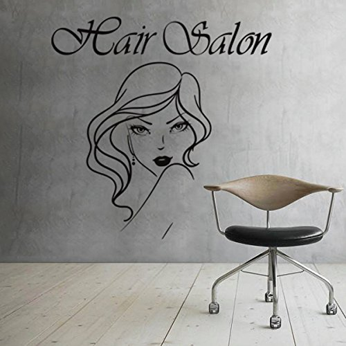 MairGwall Girl Face Hair Salon Quote Beauty Salon Shop Wall Sticker Barber Shop Girl Room Decoration Hair Art Poster (Large,Black)