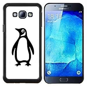 LECELL--Funda protectora / Cubierta / Piel For Samsung Galaxy A8 A8000 -- Pingüino torpe minimalista Blanco Negro --