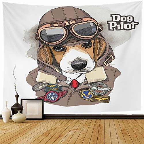 ll Hanging 80 x 60 Inches Brown Air Portrait Beagle Aviator Helmet Jacket Sewing Patch Aircraft Home Wall Decor Tapestries for Bedroom Living Room Dorm ()