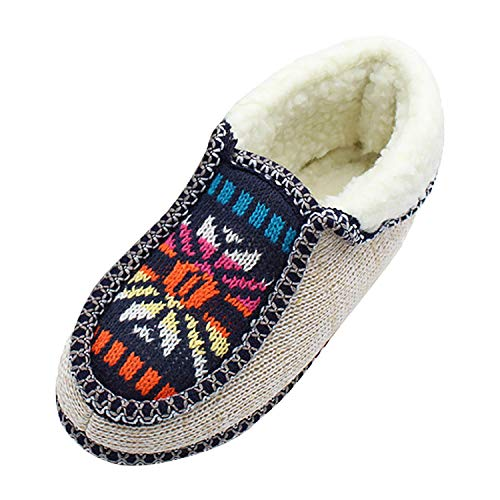 The Chelsea Smile Halloween (Tsmile Women Fuzzy Knit Cotton Shoes Memory Foam Floral Print Casual Warm Anti Slip Winter Outdoor Slippers Boots)