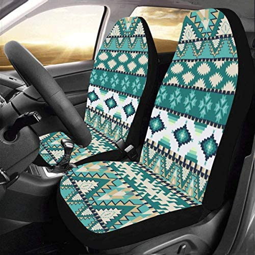 SUV,Van INTERESTPRINT American Indian Motifs Background with Aztec Tribal Ornament Auto Seat Covers Full Set of 2 Truck Vehicle Seat Protector Fit Car