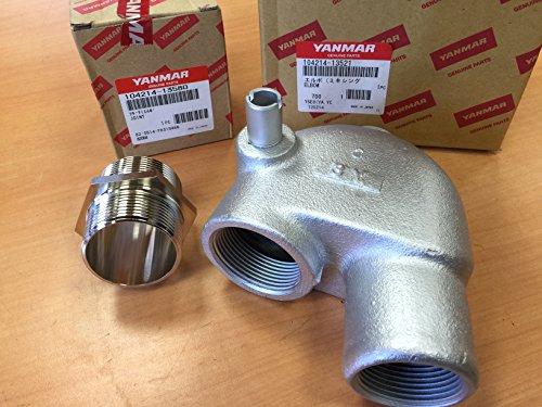 Yanmar Engine Parts (Kit Yanmar 104214-13521 Exhaust Elbow & 104214-13580 Joint Genuine OEM)