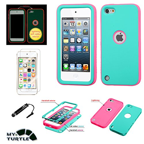 Apple iPod Touch 5th 6th Generation Case MyTurtle TM iPod Touch 5, Touch 6 Verge Shockproof Hybrid 3 Layer Hard Premium Silicone Shell Cover with Stylus Pen + Screen Protector (Teal Glowing Pink) - Ipod Touch Premium Silicone