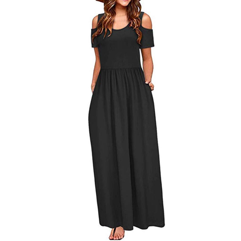 Women Long Dresses Summer Off Shoulder Elegant Maxi Dress with Pocket Beach Hawaii Dress by Cianjue (S, Black)
