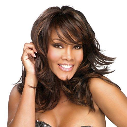 SmartFactory Medium Natural Wavy Curly Human Hair Synthetic Fiber Wig For Ladies