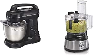 Hamilton Beach Electric Stand Mixer & 10-Cup Food Processor & Vegetable Chopper with Bowl Scraper, Stainless Steel (70730)