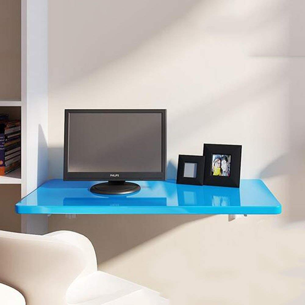 ChuanHan Table Wall-Mounted Drop-Leaf, Double Folding Kitchen & Dining Desk Blue 13 Computer Desk, Blue