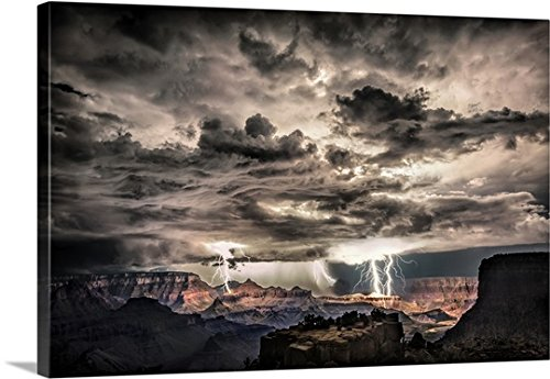 Scott Stulberg Premium Thick Wrap Canvas Wall Art Print Entitled Lightning Storm At Night Over The Grand Canyon 48 X32