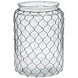 "Wide-Mouth Glass Chicken Wire Vase - 7 1/2""Dia x 10 1/2""H"