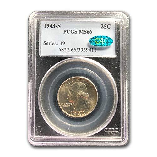 1943 S Washington Quarter MS-66 PCGS CAC Quarter MS-66 PCGS