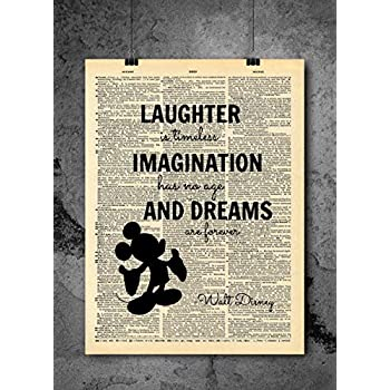 Imagination Laughter Quote Vintage Dictionary Art Print 8x10 inch Home Vintage Art Abstract Prints Wall Art for Home Decor Wall Decorations For Living Room Bedroom Office Ready-to-Frame