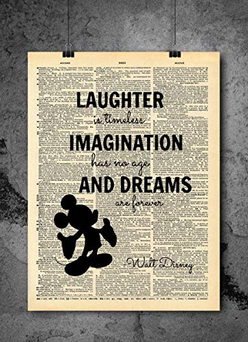 Imagination Laughter Quote Vintage Dictionary Art Print 8x10 inch Home Vintage Art Abstract Prints Wall Art for Home Decor Wall Decorations For Living Room Bedroom Office Ready-to-Frame ()