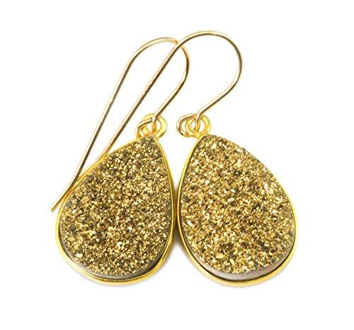 14k Gold Filled Drusy Earrings Golden Druzy Large Teardrop Goldtone Bezel Set Simple (Bezel Golden Earrings)