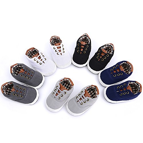 Image of The Golden Swallow Infant/Toddler Baby Lace Up Soft Sole Sneakers Boys Basic Canvas First Walkers Shoes