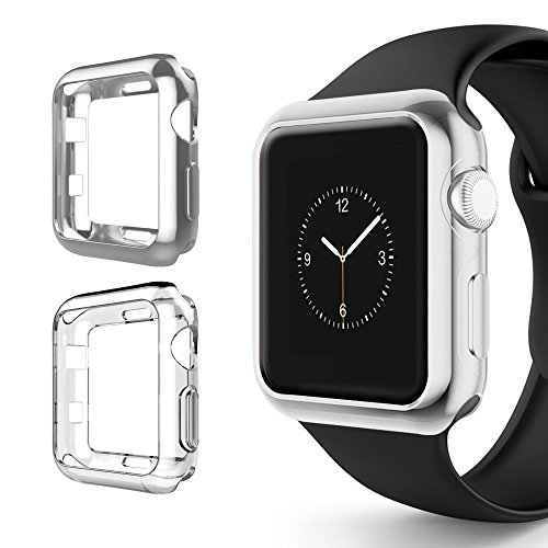 Apple Watch Chrome & Clear Vivid Protection Case [2 Pack] for Series 1, 2 & 3 Cellular LTE/GPS Flexible Bumper Skin [iWatch Gel Cover] Protective Shockproof Accessories (Silver/Clear, (Chrome Band)
