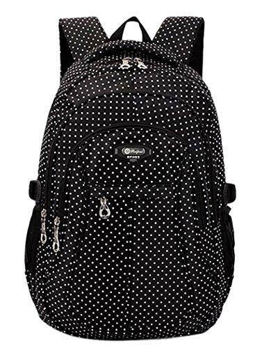 Kinder Rucksack, Coofit Punkte Rucksack Schulranzen Mädchen Schulrucksack Cute Schulkinder Lässig Ruckpack Schultasche ( schwarz ) Schwarz