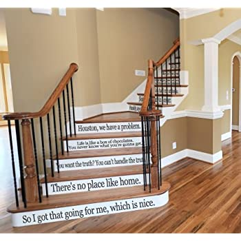 Movie Quote Set LARGE Assorted Sayings Vinyl Stairs Or Wall Decal [BLACK]  Film Cinema