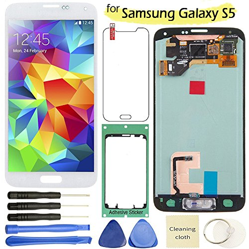 Samsung Galaxy S5 LCD Display Screen Replacement + Touch Digitizer Assembly for I9600 G900 G900A G900F G900P G900T G900V G900R4, with Repair tools + screen protector, (White) (Replacement S5 Galaxy Samsung Lcd)