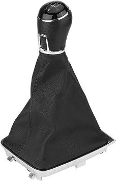 Qiilu 5 velocit/à pomello del cambio Pomello cambio marcia Knob Gaiter pelle PU plastica nero