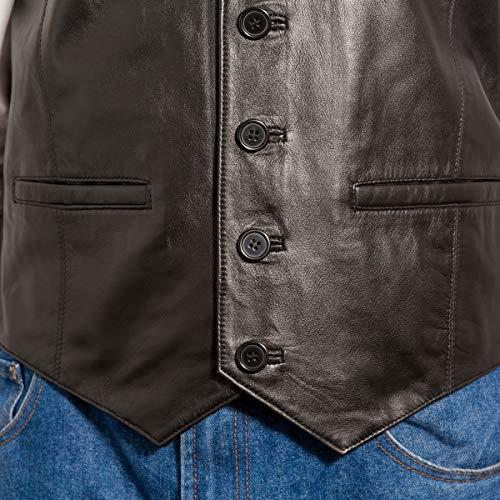 Pour Noir Finition To Homme À Cuir Leather Et A En Boutons Classique Cinq Z Suède Gilet Disponible wTw8Haq