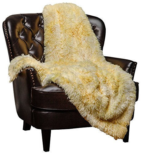 Chanasya Faux Fur Sherpa Throw Blanket | Color Variation Marble Print | Super Soft Shaggy Fuzzy Fluffy Elegant Cozy Plush Microfiber Yellow Blanket for Couch Bed Living Room - (50x65)