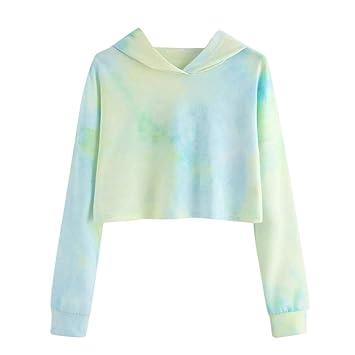 ❤ Sudaderas Mujer Cortas,Modaworld Moda Sudadera con Capucha de Patchwork Estampado para Mujer Blusa Elegante niña Camisas Sudaderas Mujer Tumblr Crop ...