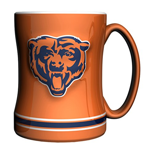 Boelter Brands NFL Chicago Bears Sculpted Relief Mug Alternate Color, 14-Ounce, Orange -