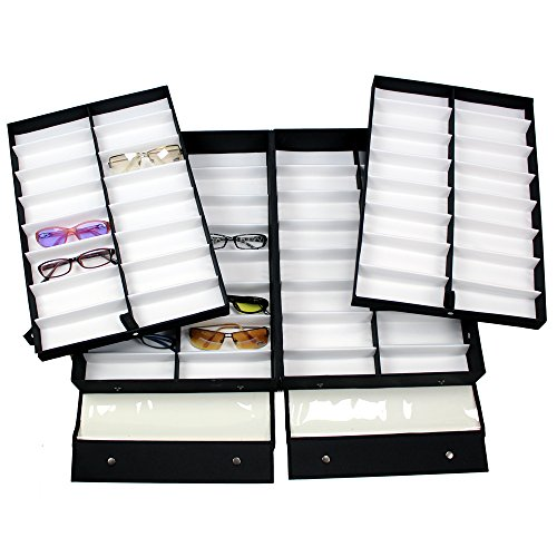 Ikee Design Small/Medium Clear Vinyl Lid Eyewear Case for 64 Frames 19''W x 12 1/2''D x 5 - Eyeglass Size Dimensions Frame