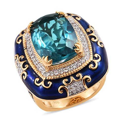 Promise Ring 925 Sterling Silver Vermeil Yellow Gold Capri Blue Quartz Zircon Boho Handmade Jewelry for Women Size 9 Ct 9.2