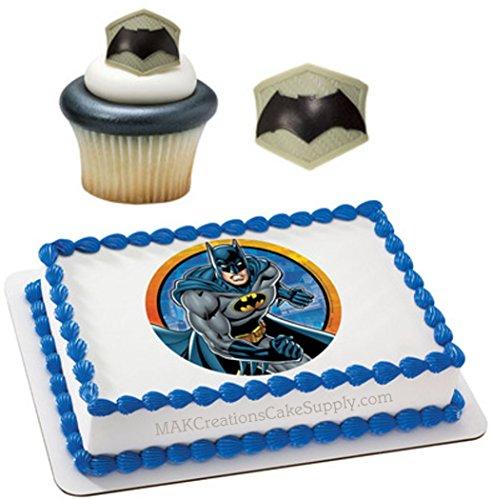 Batman Licensed Edible Wafer Cake Topper & Cupcake Ring Combo