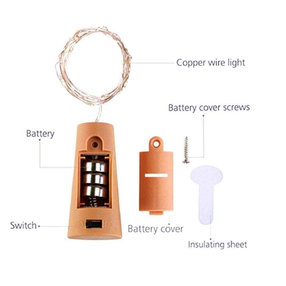 Ankamall Elec 6 Pack 20 LEDs 6.5Ft Tapón de botella de vino tinto Led de luz de cadena de cobre (Incluir) Multicolor para Navidad/Decoraciones de jardín: ...