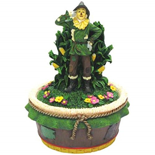 WL SS-WL-17188, 5.25 Inch Scarecrow Standing in Front of Corn Stock Trinket Box 5.25