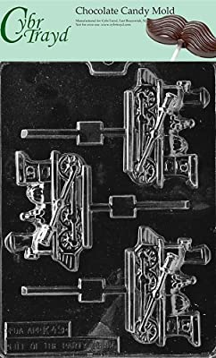 Cybrtrayd Life of the Party K049 Train Engine Locomotive Lolly Chocolate Candy Mold in Sealed Protective Poly Bag Imprinted with Copyrighted Cybrtrayd Molding Instructions