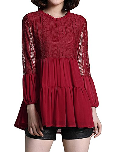 WEIYAN Women's Blouse Hollow Lace Chiffon T-Shirts Patchwork Casual Lantern Sleeve Tops Red S