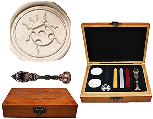 MNYR Beetle Ladybug Silver Wax Seal Sealing Stamp Wedding Invitations Vintage Metal Peacock Handle Wax Sticks Candles Melting Spoon Gift Wood Box Set