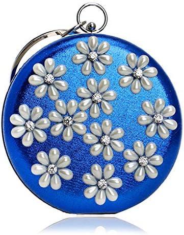 ヨーロッパとアメリカの真珠のハンドバッグ、女性の宴会ドレスイブニングイブニングディナーバッグ、5色、15 * 15 * 5 Cm 美しいファッション (Color : Blue)