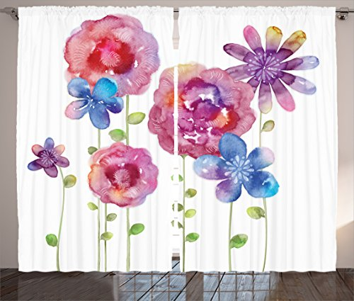 Curtains Ambesonne Watercolors Illustration Different