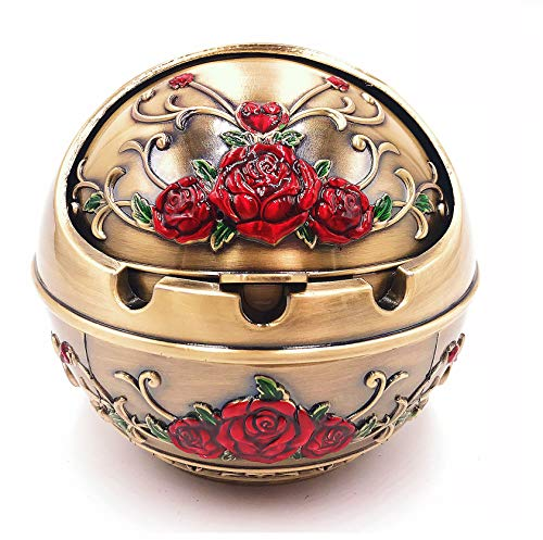 (Modernlife Windproof Ashtray with Lid for Outdoor and Indoor Use, Metal Portable Cigarette Ashtray with Gift Box, Ball Ashtray, Red Rose (Bronze))