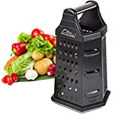 HCHUAN Box Grater With Container, Professional 6-IN-1 Stainless Steel Grater Shredder with BPA-Free Airtight Boxes Storage Container - For Veggie, Lemon, Cheese Graters Fine and Coarse,Zester & Slicer