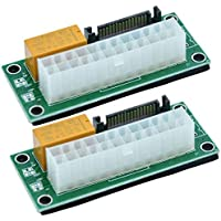 BAY Direct (2-PACK) Add2PSU Multiple Power Supply Adapter, ATX 24Pin to SATA Dual PSU Power Supply Sync Starter Extender…
