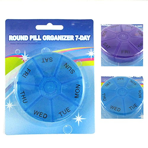 Price comparison product image WALLER PAA 2 Round 7 Day Pill Box Medicine Organizer Daily Weekly Medication Holder Travel