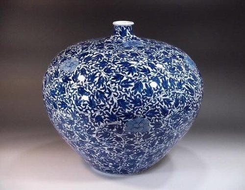 有田焼伊万里焼|花瓶陶器花器壺|贈答品|高級ギフト|贈り物|記念品|牡丹唐草藤井錦彩 B00HJHY4EK