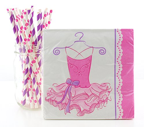 Ballerina Party Supplies Tableware Kit (Napkins & Straws) - Pink Princess Dance Birthday Partyware - 16 Ct Ballerina Tutu Paper Napkins & 25 Ct. Straws, Pretty Pink Ballerina Table Decorations
