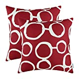Pack of 2 CaliTime Throw Pillow Covers Shells for Couch Sofa Home Decor, Connected Circles Rings Geometric, 18 X 18 Inches, Burgundy